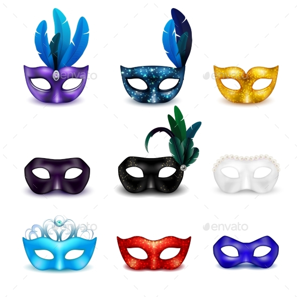 GraphicRiver Masquerade Mask Realistic Icon Set 20238822