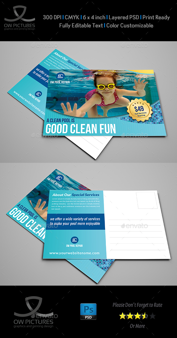 Swimming Pool Cleaning Service Postcard Template - Cards & Invites Print Templates
