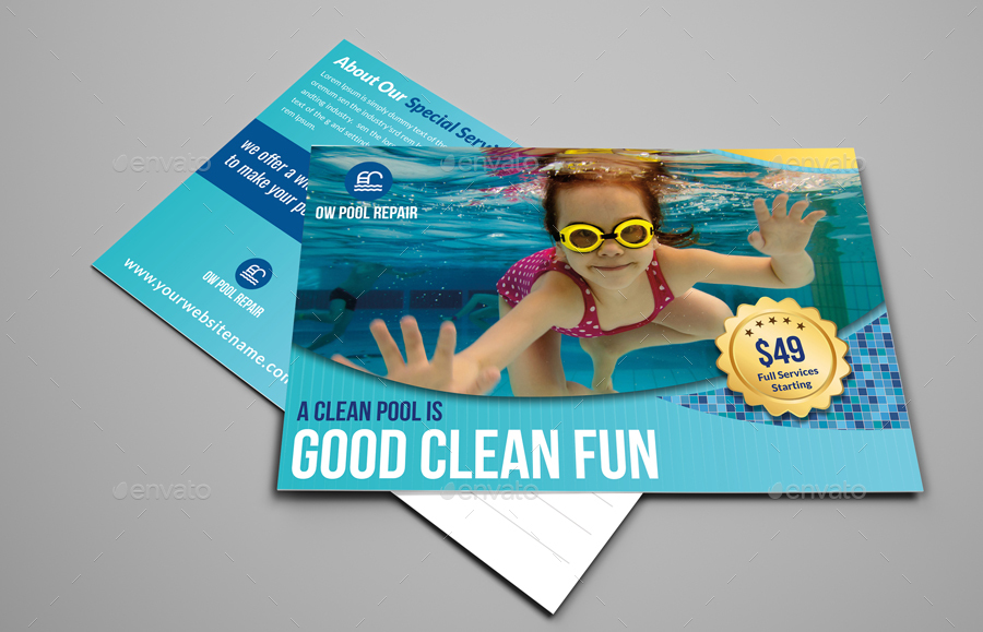 Swimming Pool Cleaning Service Postcard Template By Owpictures Graphicriver