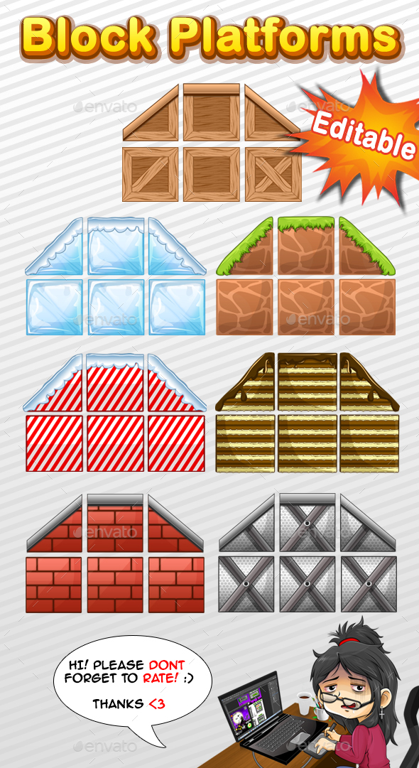 7 Styles - Block Platforms - Tilesets Game Assets