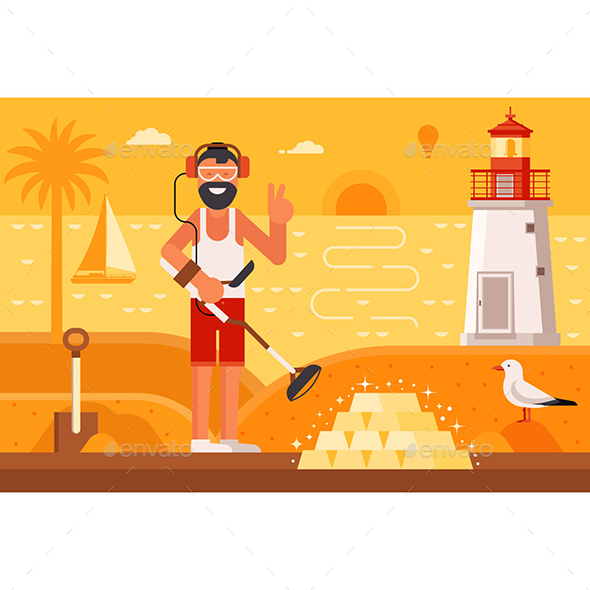 Beach Treasure Hunter Finding Gold - Sports/Activity Conceptual