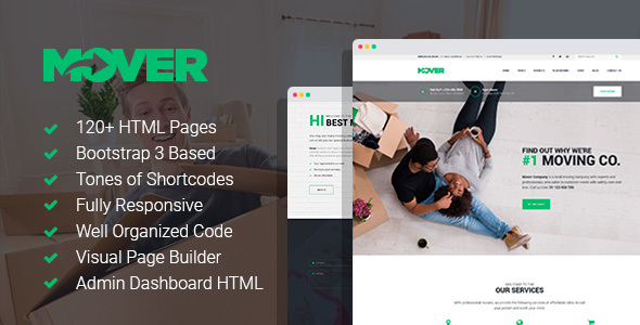 Mover - Moving/Delivery Company HTML Template with Page Builder and Dashboard HTML pages