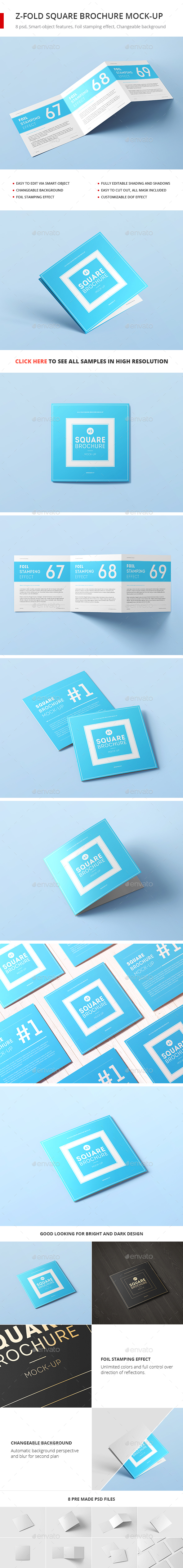 Z-Fold Square Brochure Mock-up - Brochures Print