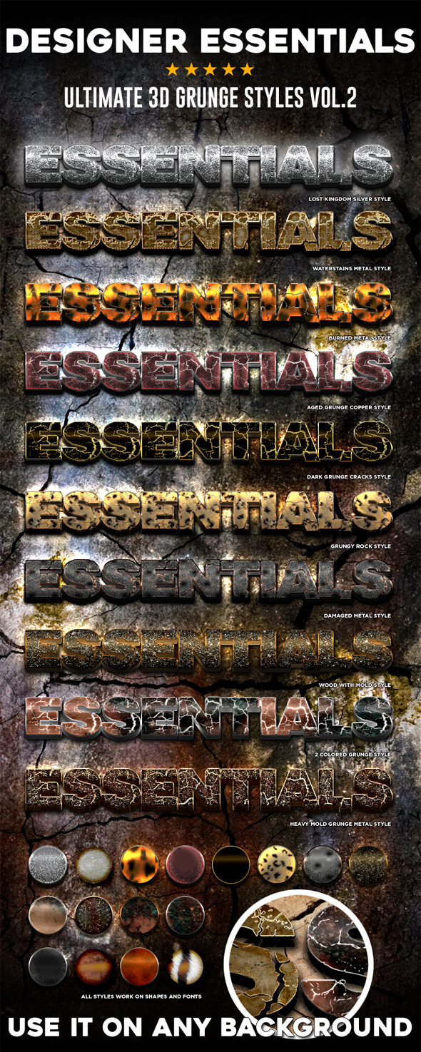 Designer Essentials Ultimate 3D Grunge Styles Vol.2 - Text Effects Styles