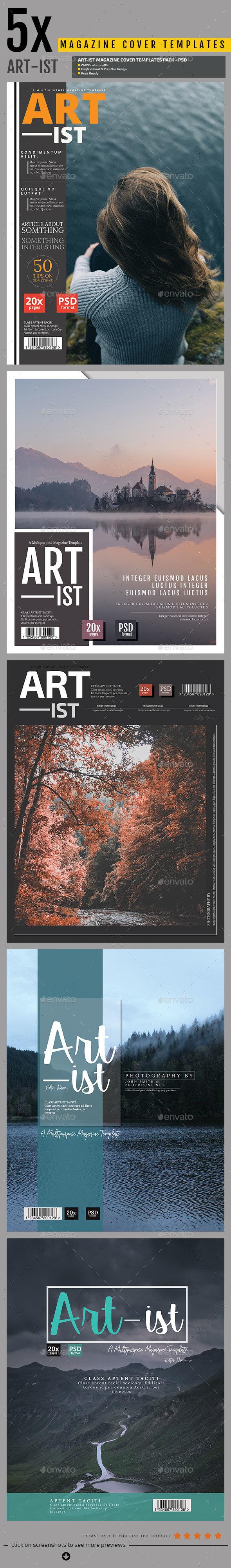 5in1 Magazine Cover Templates V.3 - Magazines Print Templates