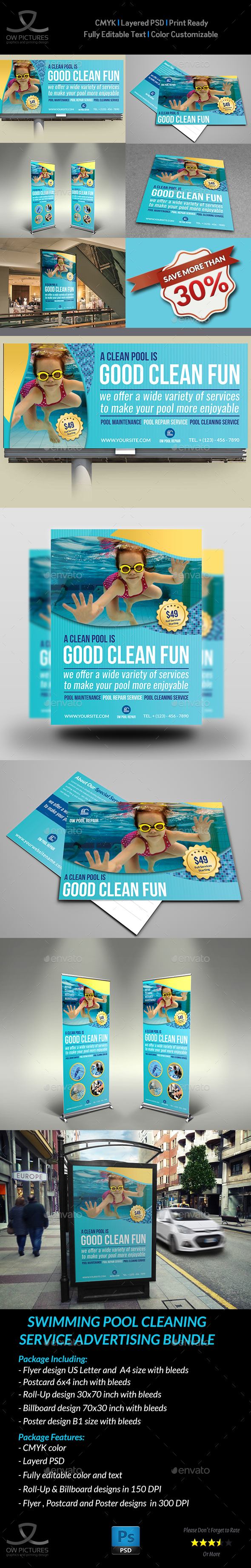 Swimming Pool Cleaning Service Advertising Bundle - Signage Print Templates