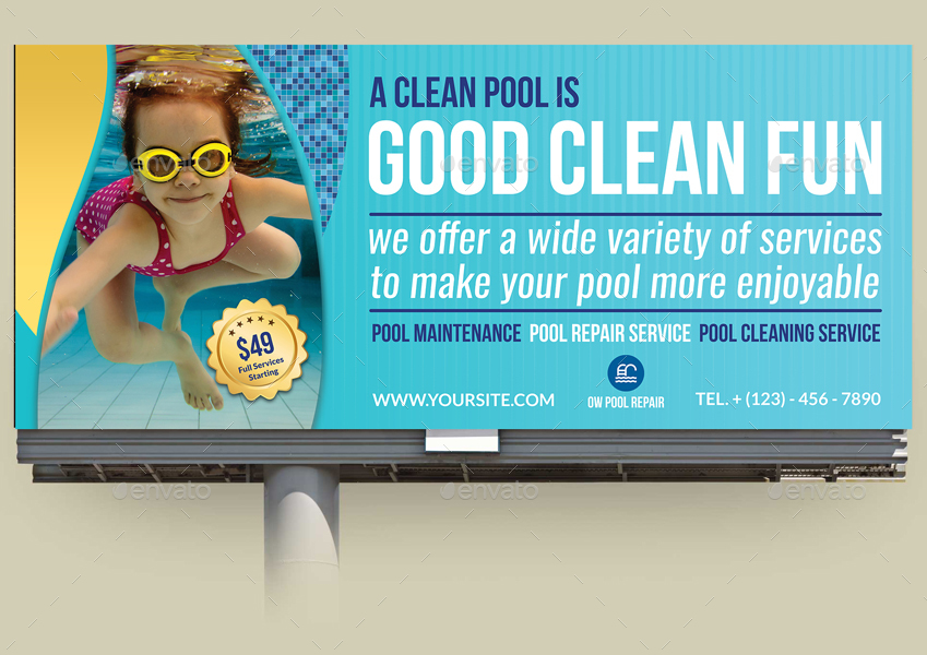 Swimming Pool Marketing : Swimming pool cleaning service advertising bundle by