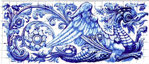 GraphicRiver Blue Dragon Azulejo Ceramic Tile Magnet Souvenir Realistic Vector 20239649