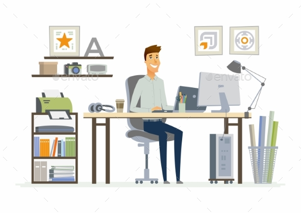 Office Man - Modern Vector Flat Illustration - People Characters