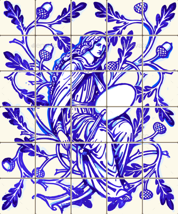 Blue Oak Fairy Azulejo Ceramic Tile Magnet Souvenir Vector - Vectors