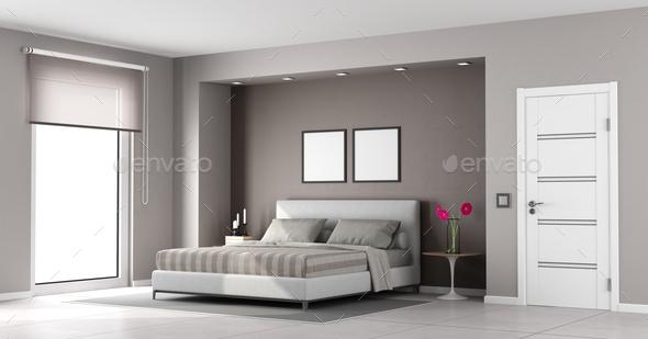 Minimalist master bedroom - Stock Photo - Images