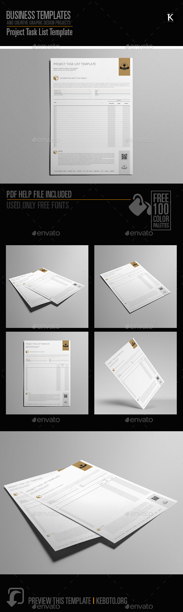 project task list template by keboto graphicriver. Black Bedroom Furniture Sets. Home Design Ideas