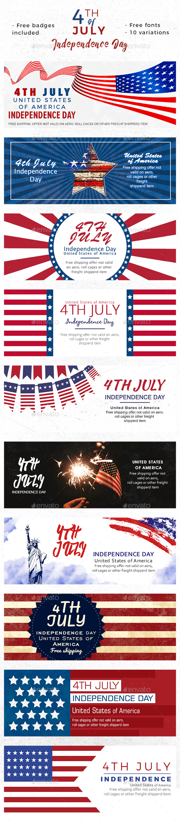 July 4th - Independence Day Banners - Banners & Ads Web Elements