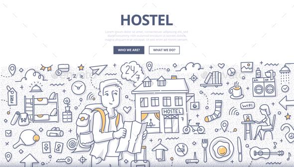 City Hostel Doodle Concept - Travel Conceptual
