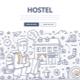 City Hostel Doodle Concept