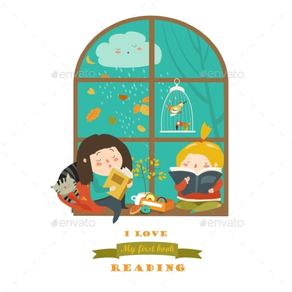 GraphicRiver Girls Reading Book By the Window 20239983