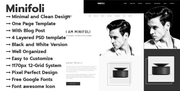 Download Minifoli – Personal Portfolio PSD Template