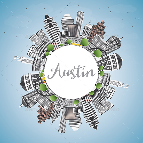 Austin Skyline with Gray Buildings, Blue Sky and Copy Space - Buildings Objects