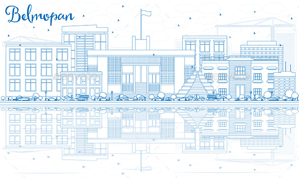 Outline Belmopan Skyline with Blue Buildings and Reflections - Buildings Objects