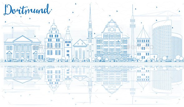 Outline Dortmund Skyline with Blue Buildings and Reflections - Buildings Objects
