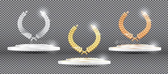 GraphicRiver Gold Silver Bronze Laurel Wreath on Platform on Transparent Background 20240112