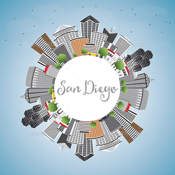 San Diego Skyline with Gray Buildings, Blue Sky and Copy Space - Buildings Objects