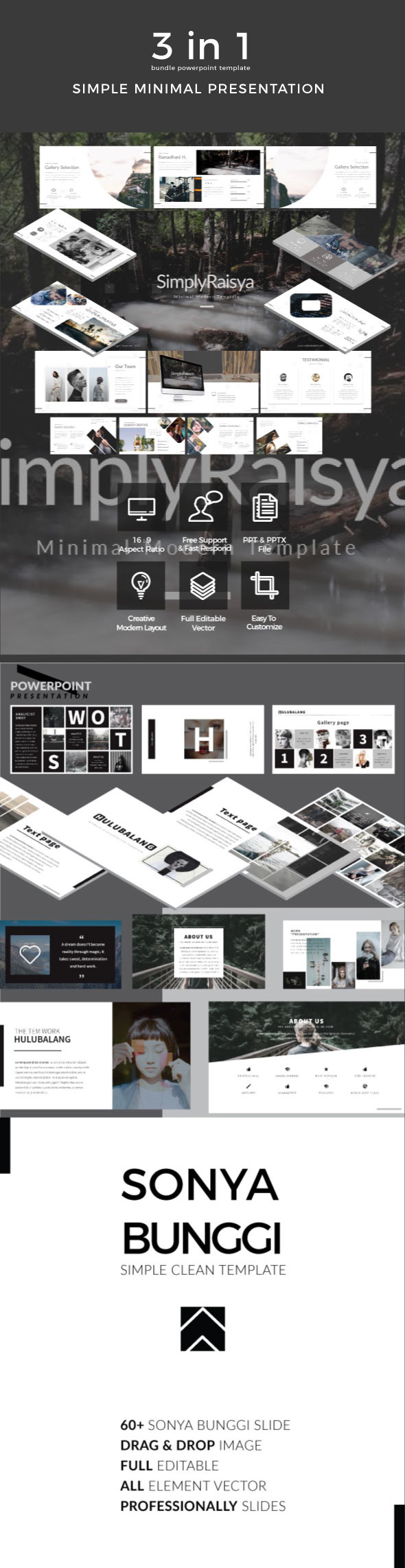 3 in 1 Bundle Simple Minimal Powerpoint Template - Business PowerPoint Templates