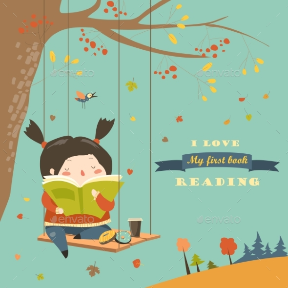 Girl Swinging and Reading a Book in Autumn - People Characters