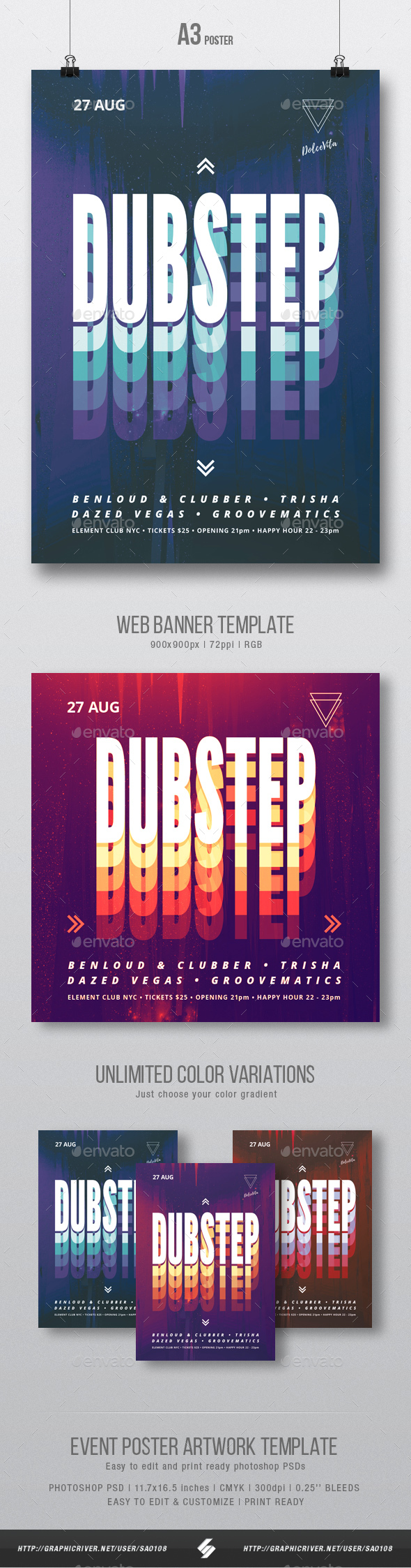 Dubstep Party Flyer / Poster Artwork Template A3 - Clubs & Parties Events