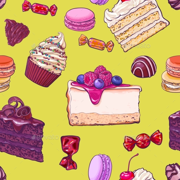 Seamless Pattern of Hand Drawn Cakes and Candies - Food Objects