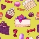Seamless Pattern of Hand Drawn Cakes and Candies