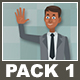 Black Businessman And Black Businesswoman Cartoon Characters Pack 1