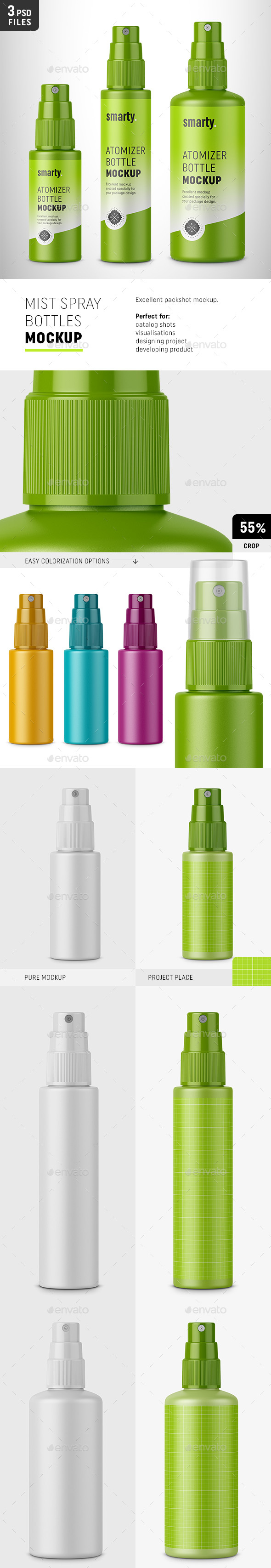 Mist Spray Bottles Mockup - Packaging Product Mock-Ups