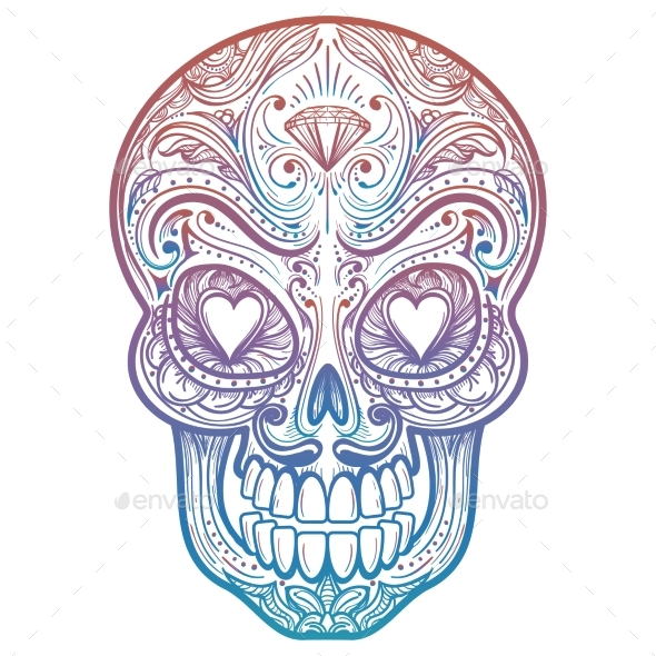 Colorful Mexican Decorative Skull Tattoo - Miscellaneous Vectors