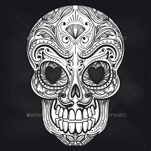 Mexican Skull on Chalkboard Background - Miscellaneous Vectors