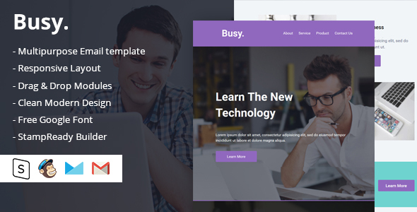 Busy Multipurpose Email Template by DesignCrazzy