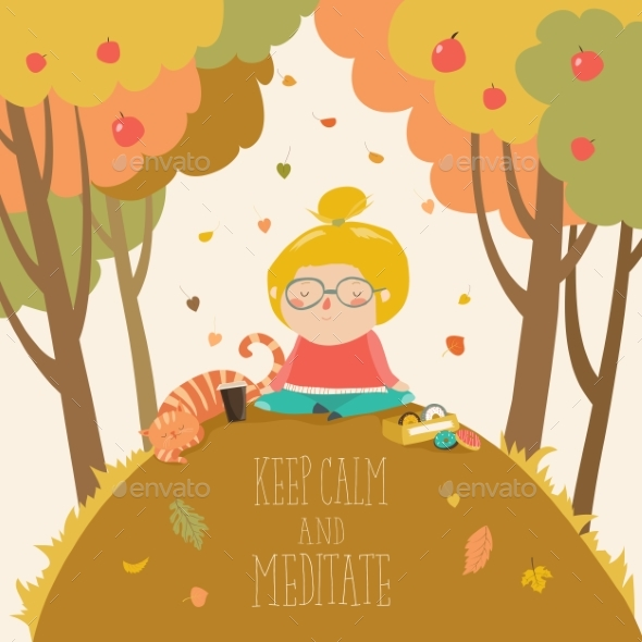GraphicRiver Girl Practicing Yoga in Autumn Park 20241242