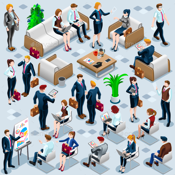Isometric People Business Staff 3D Icon Set Vector Illustration - Concepts Business