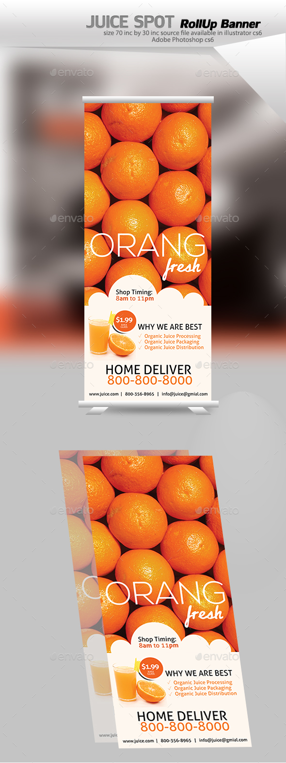 Juice Rollup Banner - Signage Print Templates