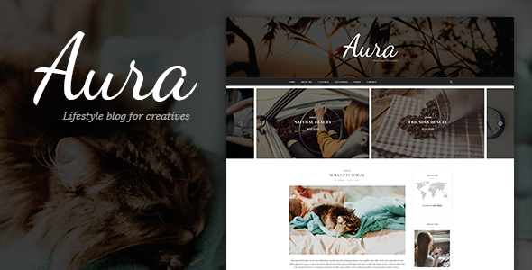 Aura - Personal Blog PSD Template focused on Blogger, Traveler, Photographer needs with PSD Files