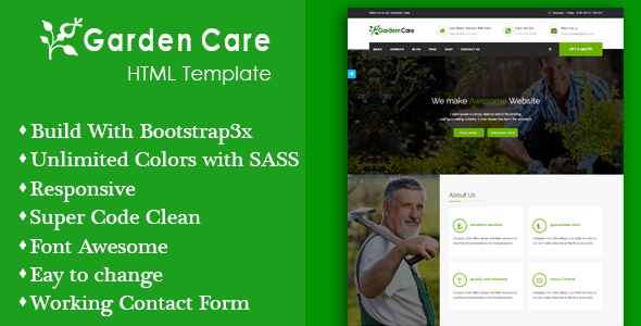 Gardener Care – Garden, Gardening and Landscaping Responsive HTML5 Template (Business) images