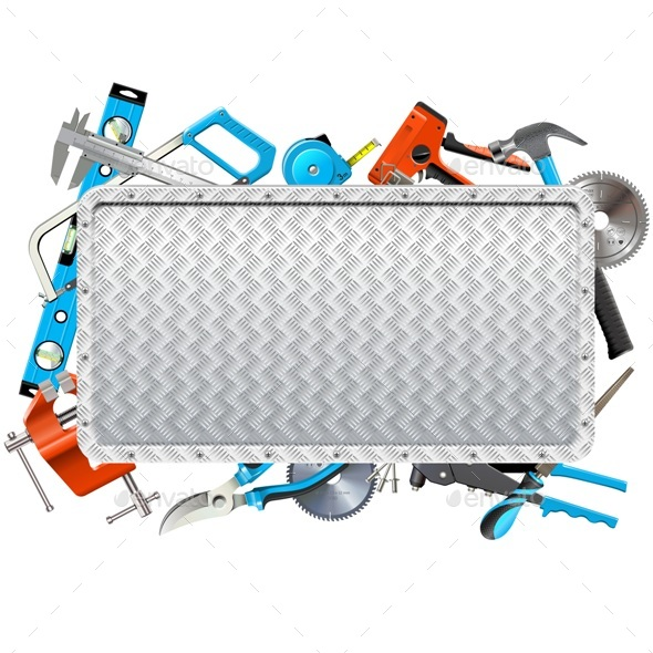 Vector Metal Frame with Hand Tools - Industries Business