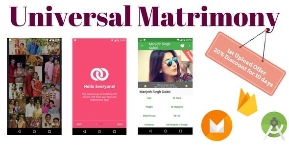 Universal Matrimony + Firebase, Reusable Template