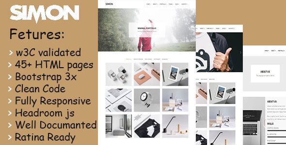 Download Simon - Minimal Portfolio Template