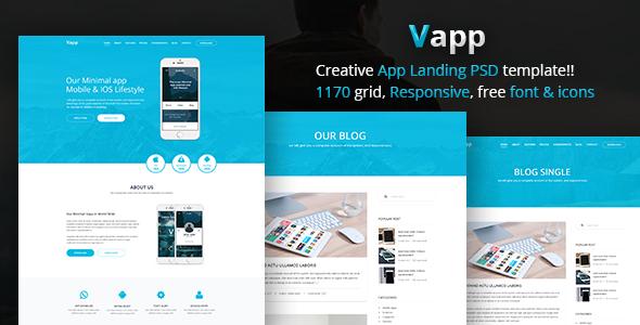 Vapp - Product, App, Marketing, Startup, Book landing PSD Template - Corporate PSD Templates