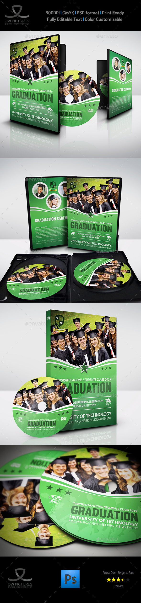 Graduation Ceremony DVD Cover and Label Template Vol.3 - CD & DVD Artwork Print Templates