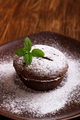 lava cake with mint