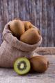 Fresh kiwi in a sack