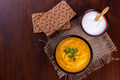 Carrot pumpkin and chickpeas soup