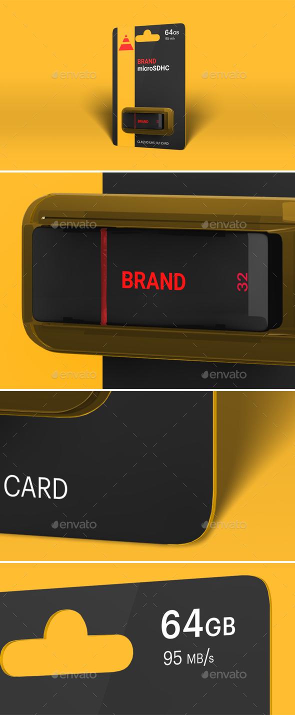 Hi-Res Photorealistic USB Drive Mockup - Packaging Product Mock-Ups